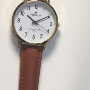 שעון יד קלאסי נעים רצועות עור חומות מסגרת זהובה ורקע לבן קולקציית וקטור 2021 דגם V8-133591WHITE
