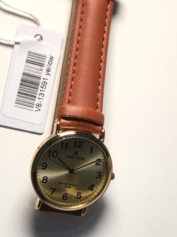 שעון יד קלאסי רצועות עור חומות ורק זהוב-צהוב מודרני מקולקציית וקטור 2021 דגם V8-131591YELLOW