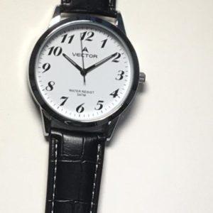 שעון יד קלאסי רצועות עור שחורות ומספרים קריאים ביותר מבית וקטור 2021 V8-134511WHITE