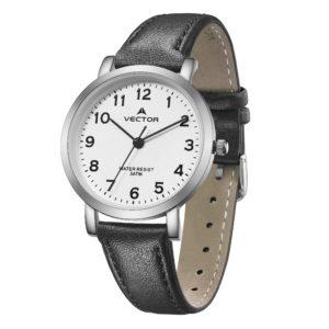 שעון יד רצועות עור שחורות יוקרתיות ומסגרת כסופה קלאסי | קיץ 2021 | V11-4