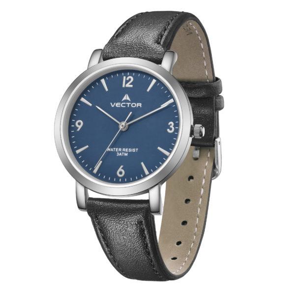 שעון יד רצועות עור שחורות ורקע כחול עמוק    קיץ 2021   V11-5