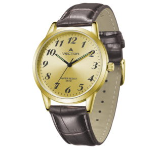 שעון יד רצועות עור צבע כהה עמוק ורקע זהוב קלאסי-יוקרתי | קיץ 2021 | V12-3