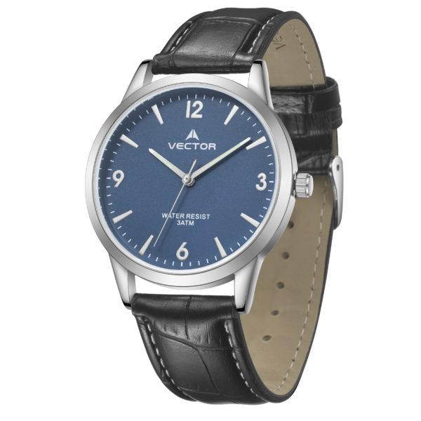 שעון יד רצועות עור שחורות ורקע שעון כחול ים | קיץ 2021 | V12-4