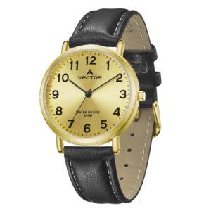 סדרת קיץ 2021 קלאסי-קלאסי מבית VECTOR | דגם שעון יד V13-2 רצועות עור שחורות וגווני זהב