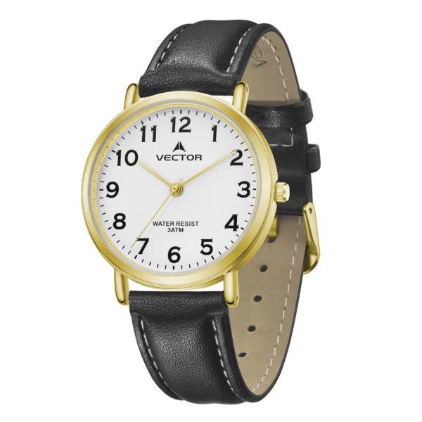 סדרת קיץ 2021 קלאסי-קלאסי מבית VECTOR | דגם שעון יד V13-3 רצועות עור שחורות ומסגרת זהב (Copy)