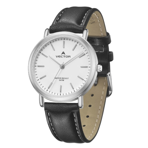 סדרת קיץ 2021 קלאסי-קלאסי מבית VECTOR | דגם שעון יד V13-4 רצועות עור שחורות וגווני סילבר-לבן
