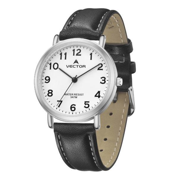 סדרת קיץ 2021 קלאסי-קלאסי מבית VECTOR | דגם שעון יד V13-5 רצועות עור שחורות וגווני כסף