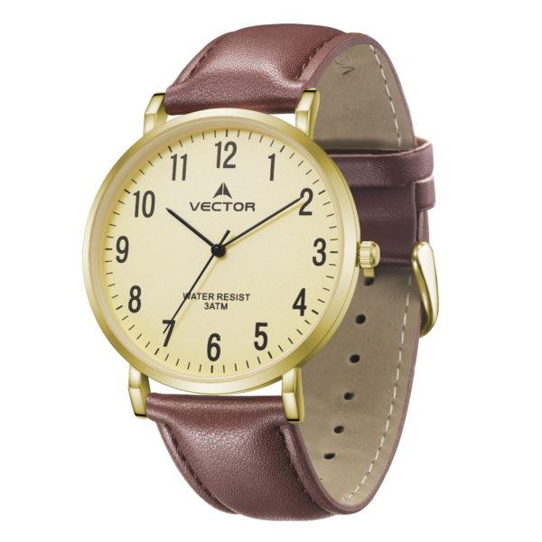 סדרת קיץ 2021 קלאסי-קלאסי מבית VECTOR | דגם שעון יד V15-1 רצועות עור חומות וגווני זהב
