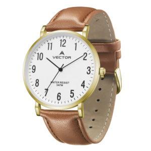 סדרת קיץ 2021 קלאסי-קלאסי מבית VECTOR | דגם שעון יד V15-2 רצועות עור חומות בהיר