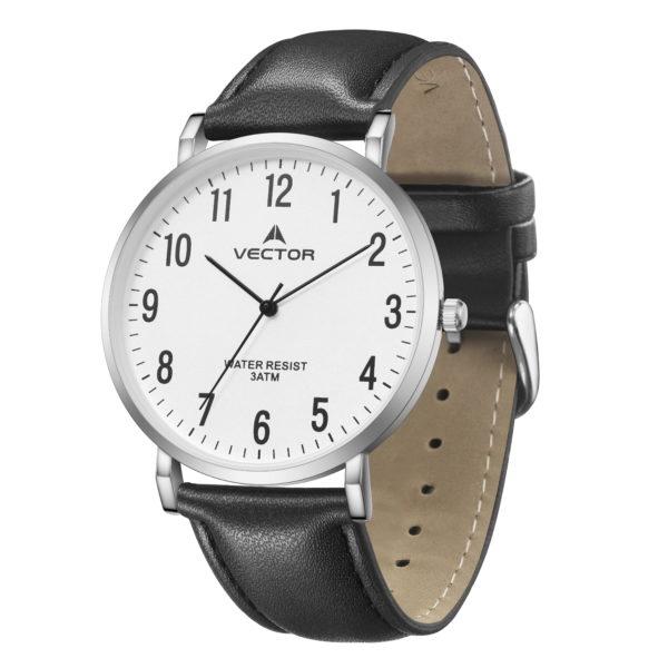 סדרת קיץ 2021 קלאסי-קלאסי מבית VECTOR | דגם שעון יד V15-3 רצועות עור שחורות וגווני כסף