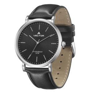 סדרת קיץ 2021 קלאסי-קלאסי מבית VECTOR | דגם שעון יד V15-4 רצועות עור שחורות ומסגרת כסופה