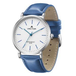 סדרת קיץ 2021 קלאסי-קלאסי מבית VECTOR | דגם שעון יד V15-5 רצועות עור כחולות וגווני כסף