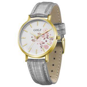 שעון יד לנשים ונערות מקולקציית קיץ 2021 | דגם קיץ פרחוני GO5-1 מסגרת זהובה