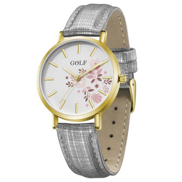 שעון יד לנשים ונערות מקולקציית קיץ 2021   דגם קיץ פרחוני GO5-1 מסגרת זהובה