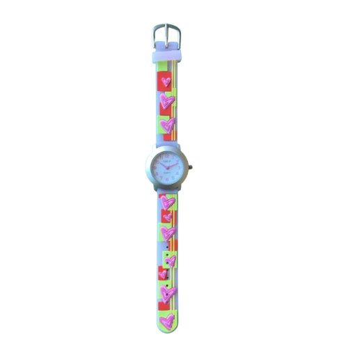 שעון ילדות מדגם CUTY-GIRL6 | ירקרק, צהוב, כתום, תכלת ולבבות ורודים
