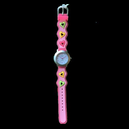 שעון ילדות מדגם GIRL-DREAM15 |  לב ירוק לב צהוב ולב ורוד