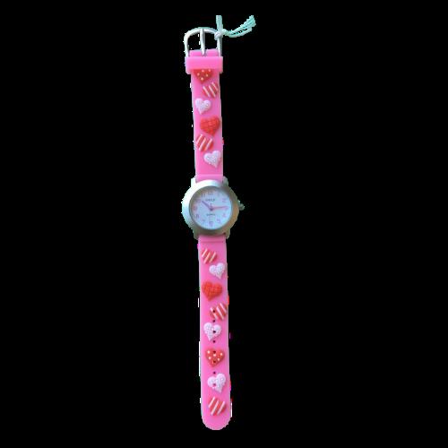 שעון ילדות מדגם CUTY-GIRL08 | לבבות בורוד ואדום
