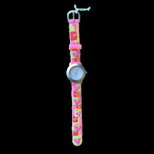 שעון ילדות מדגם CUTY-GIRL11 | ירקרק, צהוב, כתום, ורוד ולבבות