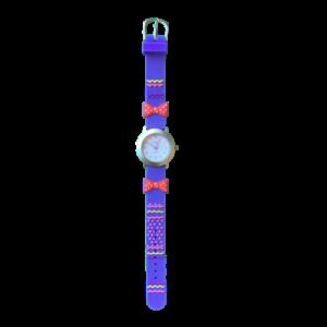 שעון ילדות מדגם GIRL-DREAM13 |  פפיון פולקדוטס כתום על רצועות כחולות