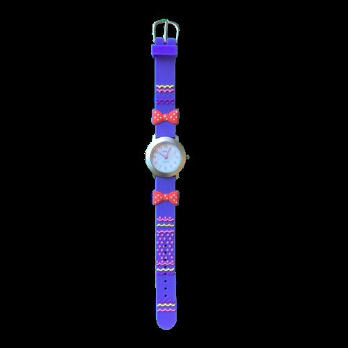 שעון ילדות מדגם GIRL-DREAM13    פפיון פולקדוטס כתום על רצועות כחולות