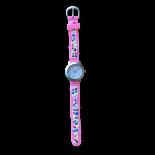 שעון ילדות מדגם GIRL-DREAM07 | לבבות צבעוניים על רצועות ורודות