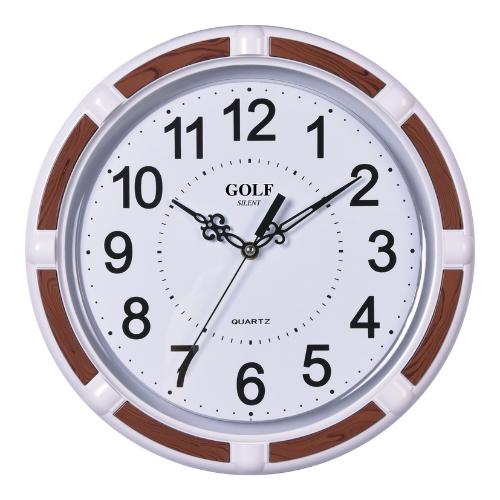 שעון קיר מבית גולף דגם LN-1700-6 | מסגרת 'זברה' חומה
