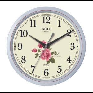 שעון קיר יפיפה עם רקע פרחוני מבית GOLF | דגם PW332-7SUMMER-FLOWERS