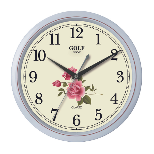 שעון קיר יפיפה עם רקע פרחוני מבית GOLF   דגם PW332-7SUMMER-FLOWERS