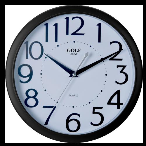 שעון קיר מדגם גולף מסגרת חומה ומספרים גדולים PW332-1700-Black