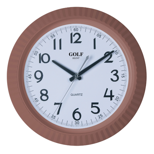 שעון קיר מודרני קלאסי בצבע חום מבית GOLF שעונים   דגם PW178-brown
